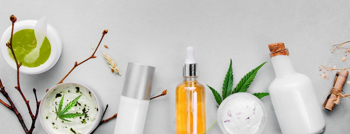 Cosmetics with cannabis CBD oil on light background. Concept natural skin care